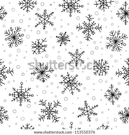 Stylish seamless snowflake pattern - stock vector