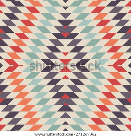 Stylish Seamless Vector Tribal Pattern for Textile Design. Geometrical Tiled Rhombus Background in Ethnic Style. Psychedelic Mix of Rhombuses - stock vector