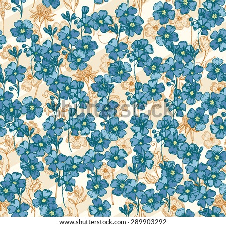 Stylish spring bright floral seamless pattern. Abstract Elegance vector illustration texture with forget-me-not. - stock vector