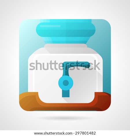 Stylish square flat color design vector icon for glass water cooler contain cold water with single blue faucet on gray background. - stock vector