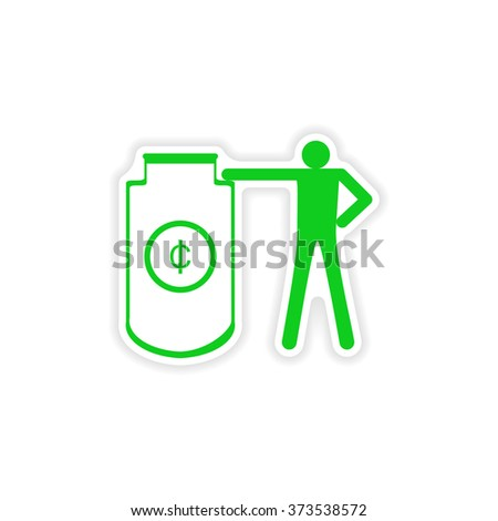 stylish sticker on paper people and capital - stock vector