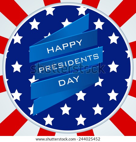 Stylish sticker or label design with text Happy Presidents Day on rays background.