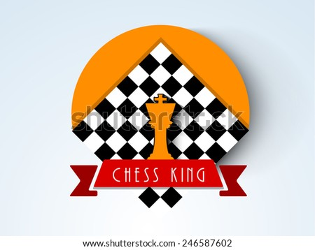 Stylish sticker, tag or label for chess with chess board and king figures on stylish background. - stock vector