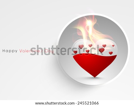 Stylish sticker with beautiful heart in fire for Happy Valentines Day celebration. - stock vector