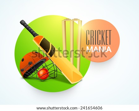 Stylish sticky design with bat, red ball, helmet and wicket stumps for Cricket Mania. - stock vector