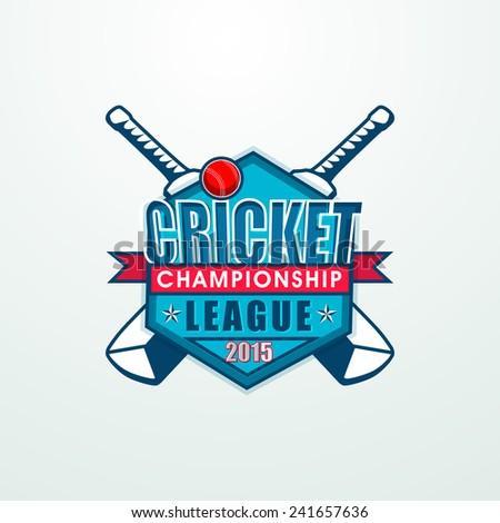 Stylish sticky design with bats and ball for Cricket Championship League 2015 concept. - stock vector