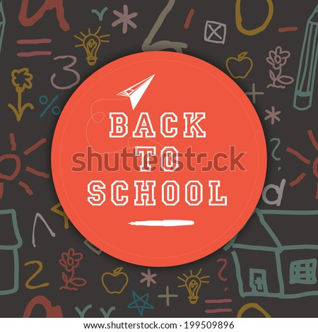 Stylish sticky with text Back to School on seamless background.  - stock vector