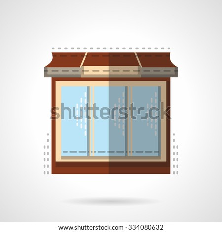 Stylish store front with large window. Comercial architecture. Flat color vector icon. Web design element for site or mobile application. - stock vector