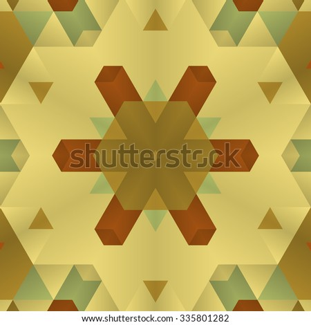 Stylish symmetrical background with bold geometrical patterns and vintage color palette. For wallpaper, pattern fills, web page background, surface textures for print and dalle production. - stock vector