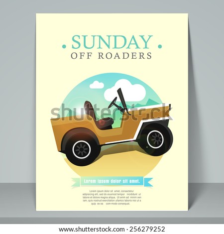 Stylish template, banner or flyer for off road racing purpose with jeep. - stock vector