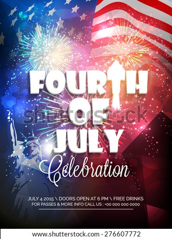 Stylish text Fourth of July, and Satue of Liberty on shiny fireworks decorated national flag background for American Independence Day celebration. - stock vector
