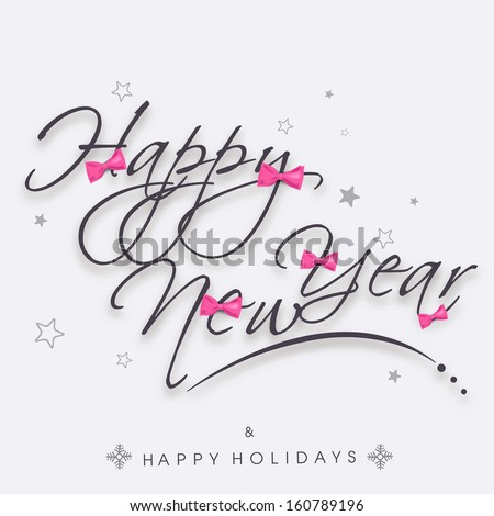 Stylish text Happy New Year on abstract background, can be use as flyer, banner or poster.  - stock vector