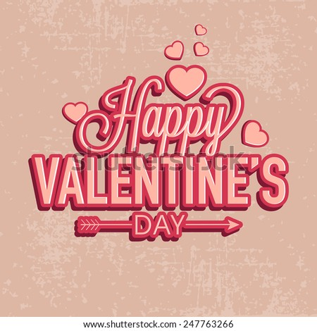 Stylish text Happy Valentines Day with hearts on grungy background. - stock vector
