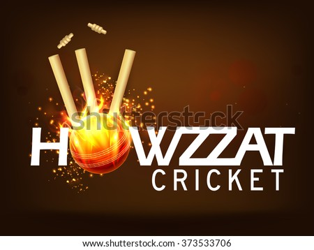 Stylish text Howzzat with fiery Ball hit the Wicket Stumps on brown background for Cricket Sports concept. - stock vector