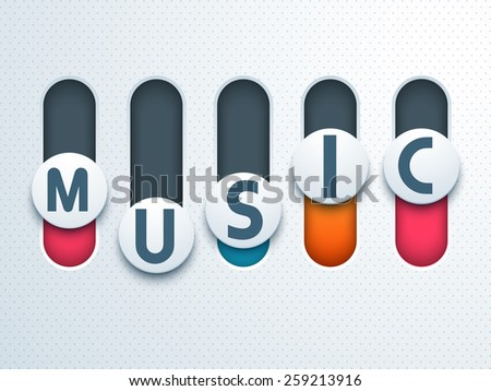 Stylish text Music on toggle button. - stock vector