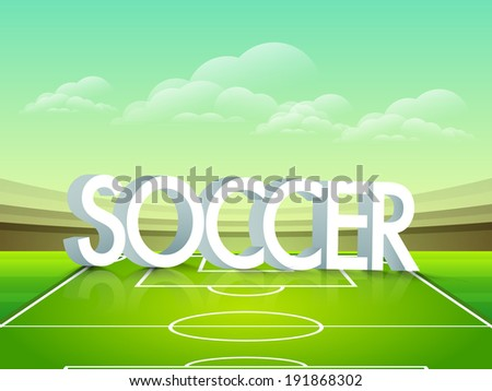 Stylish text Soccer on stadium ground.  - stock vector