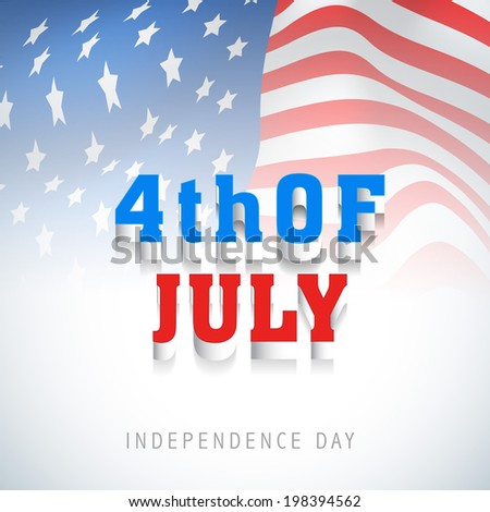 Stylish text 4th of July on American Flag waving background for Independence Day celebrations.  - stock vector