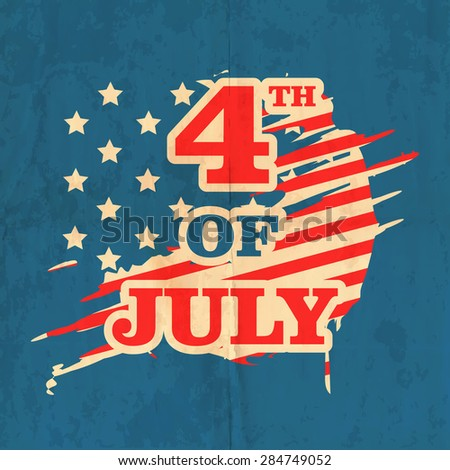 Stylish text 4th of July on national flag color vintage background for American Independence Day celebration. - stock vector
