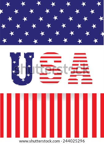 Stylish text USA on American Flag color background for Presidents Day celebration. - stock vector