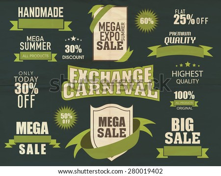 Stylish typographic collection of big summer sale with discount offer. - stock vector