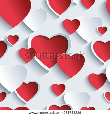Stylish Valentines day background seamless pattern with red - grey 3d cut paper hearts. Creative abstract wallpaper with hearts. Love card for Valentines day. Vector illustration. - stock vector
