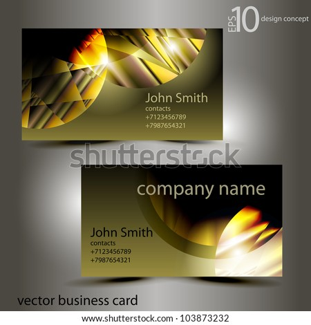 stylish vector business card with a geometrical ornament - stock vector