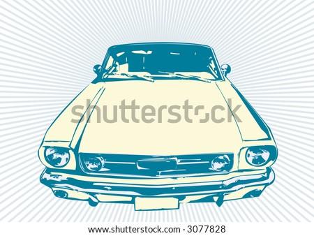 Stylish vector  illustartion of  the retro  Car - stock vector
