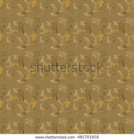Stylish Vector Seamless Pattern Background Wallpaper Illustration With Egyptian Symbols Gold Hieroglyphs And