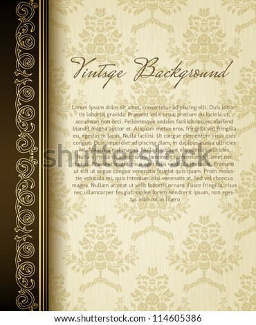 Stylish vintage background with golden ornament and damask pattern - stock vector
