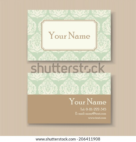 Stylish Vintage Business Card Template Stock Vector 206411908