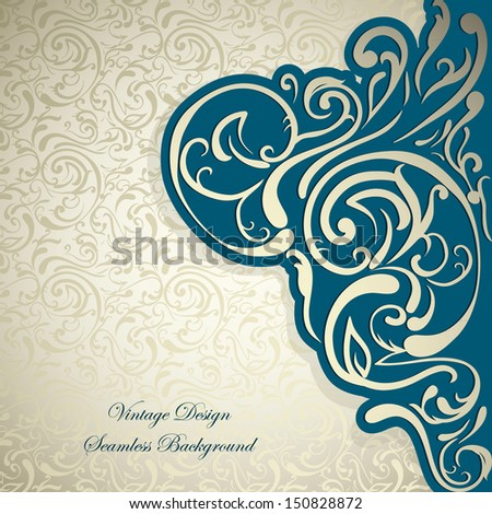 Stylish Vintage card, silk  abstract floral seamless background, Vintage frame - stock vector