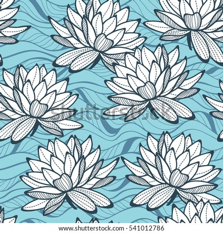 Stylish water lily seamless ornament. Floral pattern on wave background. Textile swatch in trendy colors.