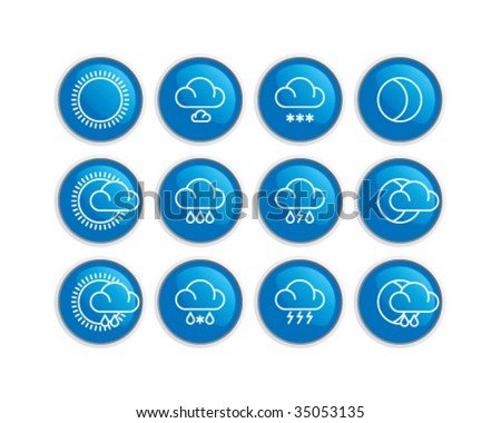 stylish weather icons set - stock vector