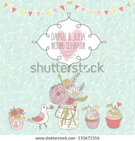 Stylish wedding invitation. Cupcakes, pigeon and bouquet in romantic vector card. Cute vintage background in pastel colors - stock vector