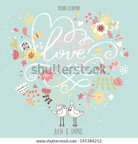 Stylish wedding invitation made of flowers in popular colors. Vintage Save the date card in vector - stock vector