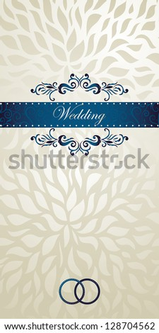 Stylish Wedding Invitation on silver-golden silk  abstract floral seamless background. Vintage frame - stock vector