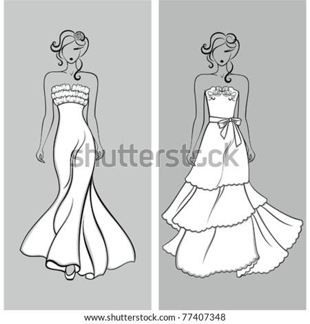 Stylish wedding silhouettes - stock vector