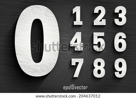 stylish white squared shabby numerals. Zero 0 One 1 Two 2 Three 3 Four 4 Five 5 Six 6 Seven 7 eight 8 nine 9. The rest of  letters, symbols and numbers of the alphabet in my portfolio. - stock vector