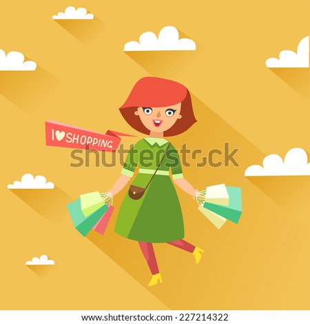 "Stylish woman holding a lot of shopping bags, ""I love shopping"" ribbon or place for other text. Vector colorful illustration in flat design style - stock vector"