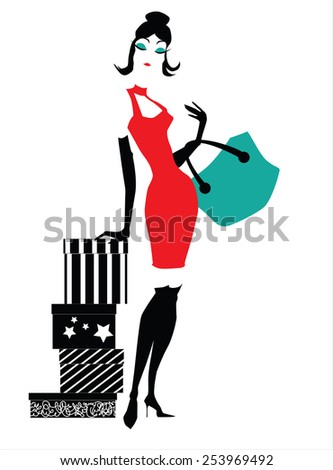 stylish woman with presents - stock vector