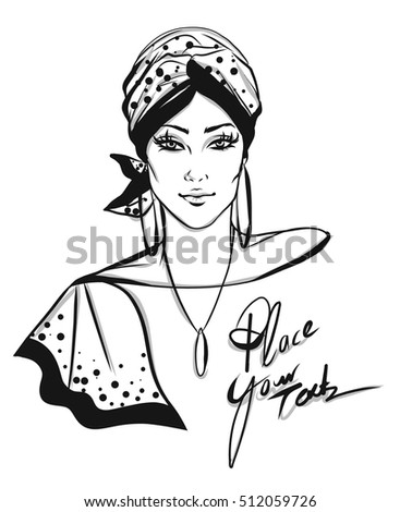 Stylish woman with turban illustration