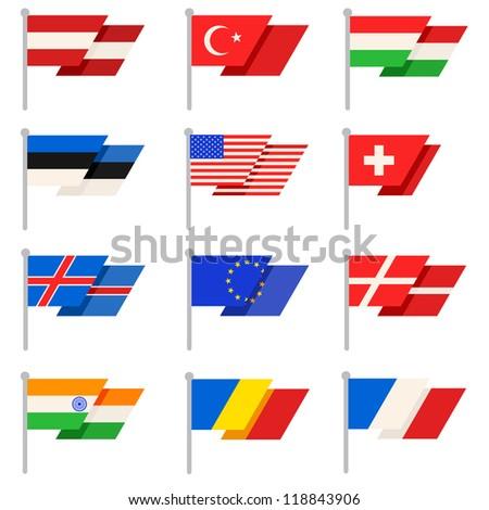 Stylish World flags. Vector - stock vector