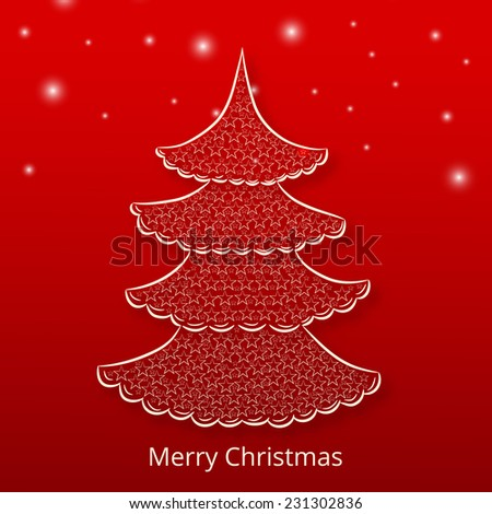 Stylish X-mas tree on star decorated red background for Merry Christmas celebrations. - stock vector