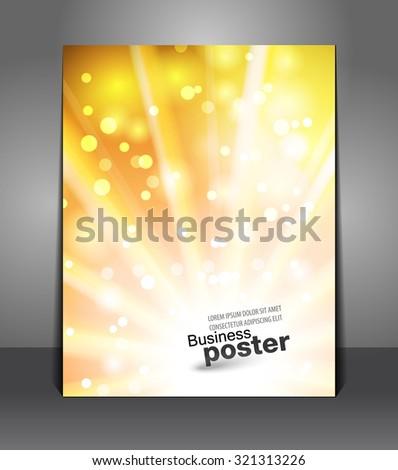 Stylish yellow-orange poster. Design layout template - stock vector