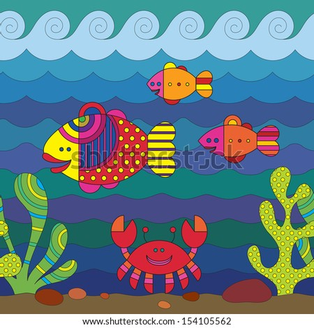Stylize fantasy fishes under water. - stock vector