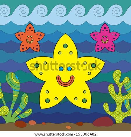 Stylize fantasy starfish under water. - stock vector