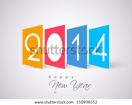 Stylize Happy New Year 2014 celebration colorful background. - stock vector