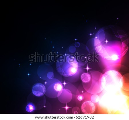 Stylized abstract background with motion glowing circles, spheres and stars