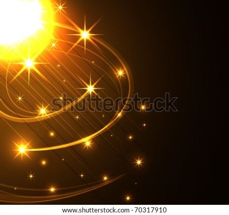 Stylized abstract background with moving glowing lines and stars - stock vector