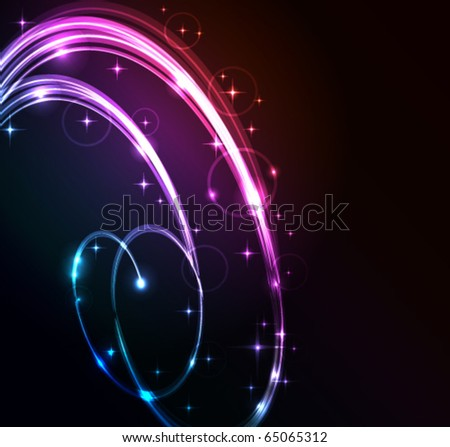 Stylized abstract background with moving glowing lines, circles and stars - stock vector
